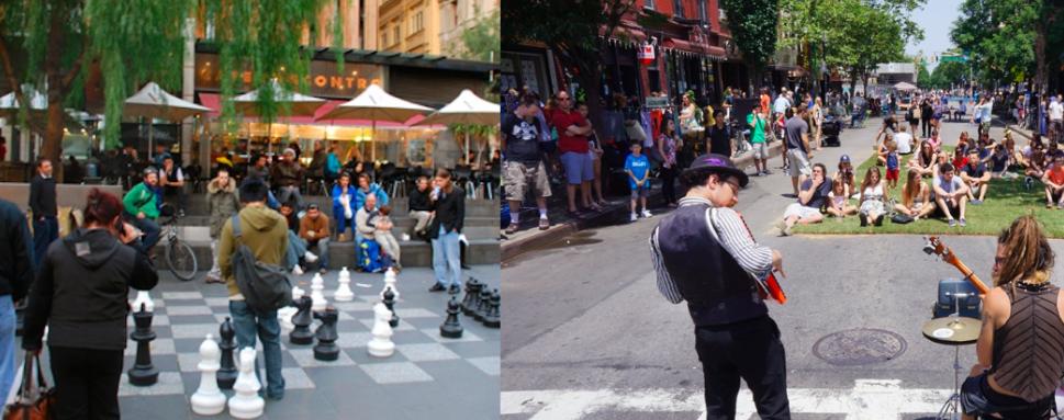 Esquerda: Melbourne, Australia. Fonte: theholidayplace Direita: Brooklyn, New York, EUA. Fonte: Streetfilms